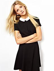 Women's Color Block Blue/Black Dress , Vintage/Casual/Cute/Work Shirt Collar Short Sleeve Zipper