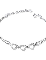 Jazlyn Authentic Platinum Plated 925 Sterling Silver Woman Hollow Heart Link Heart Chain Bracelet Gift