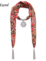 D Exceed Red Color Winter Scarf Necklace With Round Pendant Tassel Necklaces For Women Jewelry Scarves