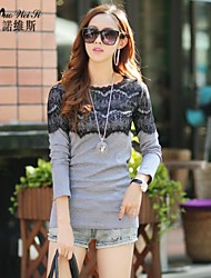 NUO WEI SI ® Women's Round Neck Cut Out Lace Shirt