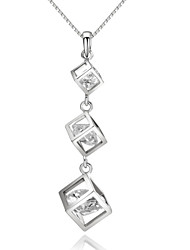 HKTC 18k White Gold Plated Clear Rhinestion Simulated Diamond Triple Cube Box Waterdrop Pendant Necklace