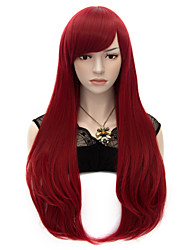 70cm Style Natural Straight Fashion Women Party Wigs Heat Resist Synhtetic Cosplay costume Wig Black Magenta Wine Red