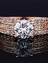 Gorgeous Women's Gold Plated Alloy with Clear Crystals Wedding Jewelry Cubic Zirconia Ring (with Gift Box)