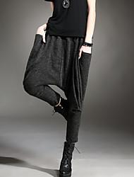 De las mujeres Pantalones Hasta la Bota - Casual Microelástico - Mezclas de Algodón