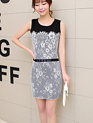 Women's Vintage Casual Micro Elastic Sleeveless Above Knee Dress (Lace)