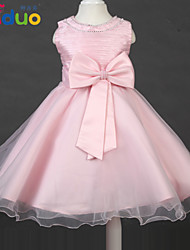 2-8T Kids Girl's O-neck Big Bowknot Layered Mesh Ball Gown Tutu Dress