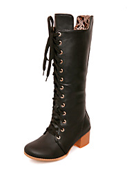 Women's Shoes Synthetic/Rubber Chunky Heel Fashion Boots/Round Toe/Closed Toe BootsOutdoor/Office &