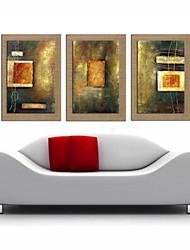 peinture à l'huile abstraite main la décoration peinte lin naturel avec la main tendue encadrée - ensemble de 3