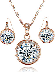 HKTC Concise 18k Rose Gold Plated 3.5ct Cubic Zirconia Stone Round Pendant Necklace and Earrings Set