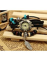 lureme® EuropeStyle ретро кожи ткать перо подвеска сплава часы браслет