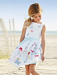 Girl's Cotton/Polyester Leisure Sweet Print Sleeveless Princess Dress