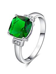 Women's Elegant Platinum Electroplate Inlay Big Zircon Ring