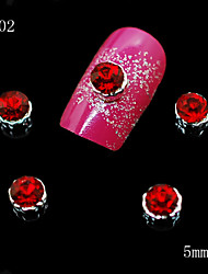 002 10pcs/lot 3D Red Alloy Rhinestone Women Fashion Nail Metal Alloy Nail Art DIY Decoration Accessories Nails