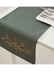 Embroidery Table Decoration Table Runner Olive Color Table Runner