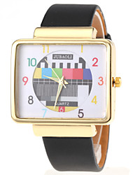 Unisex TV Pattern Square Gold Case PU Band Quartz Wrist Watch