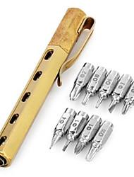 edcgear cacciavite strumento esterno alto tenore di carbonio 15-testa con clip - oro