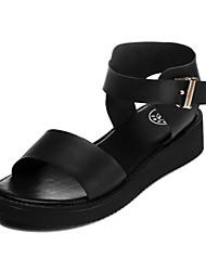 Women's Shoes Leatherette Wedge Heel Wedges Sandals Dress Black/White