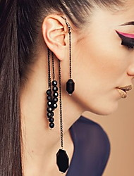 Exaggerated Black Onyx Beads No Ear Hole Tassel Hanging Ears