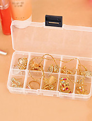 10 Slots Adjustable Rectangle Container Plastic Storage Jewelry Beads Box (Random Color))