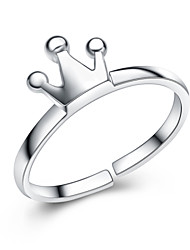 Jazlyn Authentic Platinum Plated 925 Sterling Silver Kids Queen Crown Adjustable Women's Ring for Gift