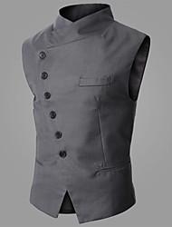 Herren Tank Tops-Einfarbig Formal Polyester / Baumwollmischung Ärmellos-Blau / Grau