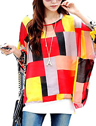 Women Geometric Prints Batwing Sleeve Blouses Tops Clothes