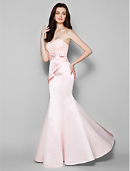 Mermaid / Trumpet Sweetheart Floor Length Lace Satin Bridesmaid Dress with Bow(s) Lace Criss Cross by LAN TING BRIDE®