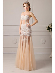 A-Line Sweetheart Floor Length Tulle Formal Evening Dress with Appliques