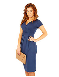 Women's Sexy/Bodycon/Party V-Neck Short Sleeve Dresses (Cotton)