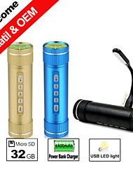 X55 4400mAh Power Bank Charger/Bike Sport Speaker/USB LED Light 3in1 2015 New Aluminum Housing Mini Portable Speakers