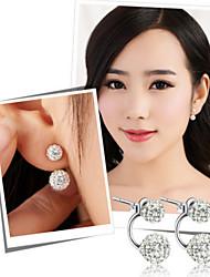 S925 argent sterling à double billes diamant boucles d'oreille