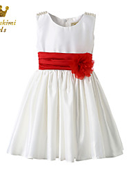 Girl White Classical Red Belt Party Wedding Dress