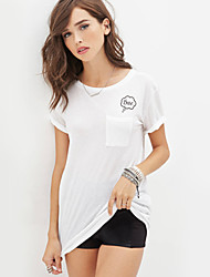 Damen T-Shirt Polyester Kurzarm Rundhalsausschnitt