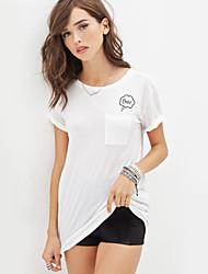 Kortærmet Kvinders Rund hals T-shirt Polyester