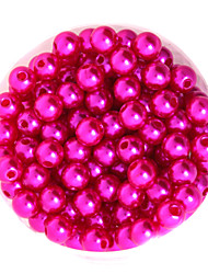 beadia 64g (aprox 300pcs) abs perlas 8 mm de color de plástico fucsia granos flojos redondos accesorios de bricolaje