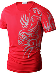Men's Fashion Dragon Print Round Collar Short Sleeved T-Shirts