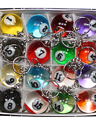 16 X Cute Multicolor Simulation Billiards Metal Key Chains Key Ring
