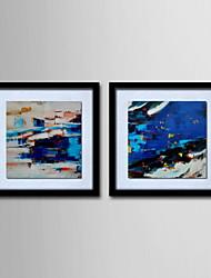 картина маслом современного абстрактного ручной росписью холста с натянутой в рамке - набор 2