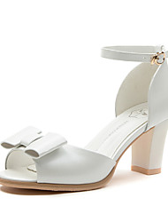 Women's Shoes Synthetic Chunky Heel Peep Toe Sandals Wedding /Office & Career /Party & Evening/Dress/Casual White/Silver