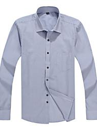 2015 Business Casual Long Sleeve Turn-down Collar Blue and Light Grey Striped Men Dress Shirt (2102)