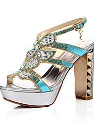 Women's Shoes Synthetic Chunky Heel Heels Sandals Outdoor/Party & Evening/Dress Blue/Gold