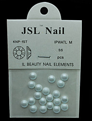 Pearl6mm 20pcs/lot Nail Beads White Color Half Round Pearls 6mm Imported Pearls Nails Rhinestones 3d Jewelry Supplies