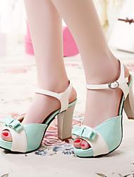Women's Shoes Heel Heels / Peep Toe / Platform Sandals / Heels Outdoor / Dress / Casual Blue / Green / Pink / Red