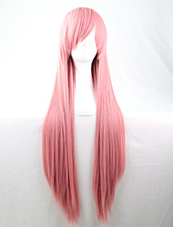 Cos Anime Bright Colored Wigs Long Smoke Pink Straight  Hair Wig 80 cm