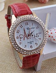 Women's round diamond alloy Dial Quartz Fashion dress  Eiffel Tower Watch Cool Watches Unique Watches