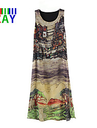 ZAY Women's  Hand Painted Landcape Sleeveless Maxi Dress Plus Size