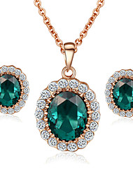 T&C Women's Elegant Cz Diamond Jewelry 18K Rose Gold Pated Emerald Green Crystal Pendants Necklaces Earrings Sets