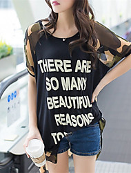 Women's Casual/Plus Sizes Inelastic Short Sleeve Long Blouse (Chiffon)