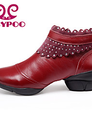 Non Customizable Women's Dance Shoes Dance Sneakers/Modern Leather Chunky Heel Black/Red