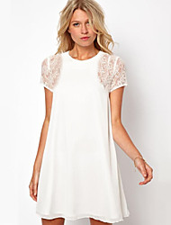 Women's White/Black/Red Lace Dress, Loose Fit Short Sleeve